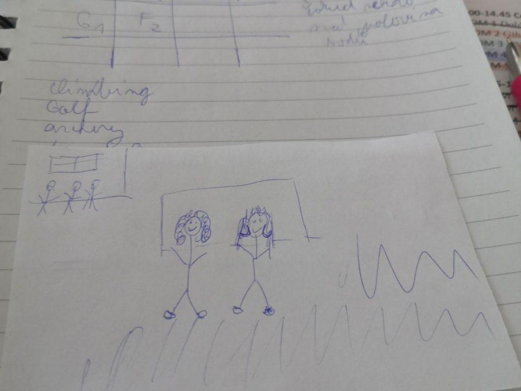 Mnou nakreslený obrázek podle popisu fotky kolegyně
